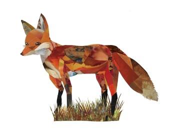 Fox 8.5 x 11 Print of Original Collage