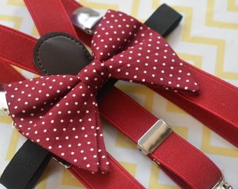 Red polka dot butterfly / poppy Bow Tie  for Baby, Toddlers and Boys (Kids Ties) with Braces / Suspenders for wedding, church, christening
