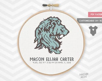 LION BABY ANNOUNCEMENT counted cross stitch pattern, baby boy nursery xstitch pdf