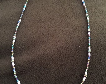 Iridescent and pink beaded necklace