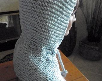 Sky Blue Nylon with Shiny Thread Hooded Capelet