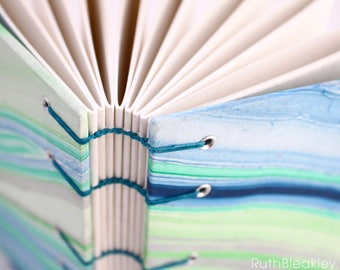 Unlined Journal - Lay Flat Journal - Green and Blue Marbled/Marbelized Journal - 160 pages - handbound by Ruth Bleakley