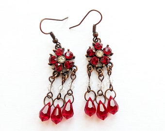 Copper and Red Crystal Dangle Earrings, Red Rhinestone Earrings, Copper Earrings, Red Crystal Earrings, Copper Floral Earrings