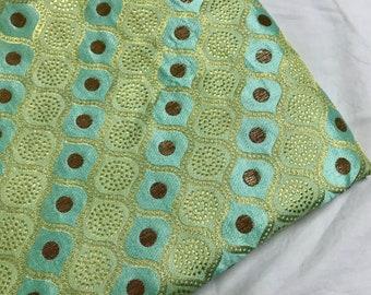 10% OFF One yard of Indian brocade fabric in aqua green and gold /Indian sari fabric/Benarasi brocade/costume fabric/fabric for dresses