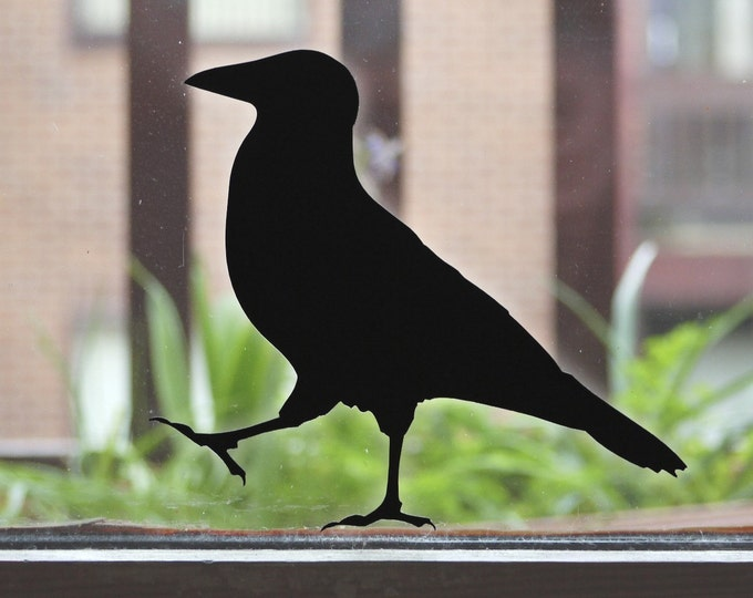 Raven Bird Wall Sticker or Window Sticker decals (2), Black Crow