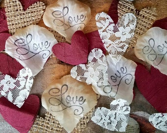 Rustic Burgundy Wedding Decorations~Burlap Table Runner with Lace~Burgundy and burlap wedding decorations ~Rustic Bridal Shower Decor