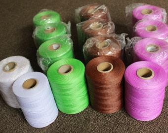 Braided Waxed Polyester Macrame Cord 1x0.4mm 500m Rolls White/Brown/Green/Purple/Gold/Black/Cream