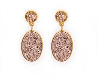 Statement Druzy Drop Earrings - Rose Gold Druzy Quartz in Gold Earrings - Round and Oval Drop Druzy Earrings