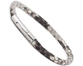 Python Skin Leather Bracelet for Men in White, Men's Snakeskin Leather Cord Bracelet Snake Skin Bracelet for Him