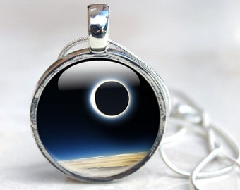Space Jewelry Solar Eclipse Necklace - Glass Pendant Photo Jewellery in Silver Picture Necklace Photo Pendant