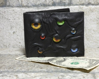 Leather Wallet Monster Face Fantasy Magic The Gathering Horror World Of Warcraft  Fathers Day Gift Black 547