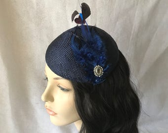 Navy Kentucky derby Feather Fascinator hat, Navy Blue Fascinator hat, Navy Wedding Fascinator hat, Navy Blue Church hat, Mother of The Bride