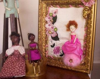 OOAK  Antique Gesso Framed Golden Flower Girl Doll Shadow Box
