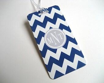 Gepäck Tag PAIR - marineblau und weiß Chevron benutzerdefinierte Monogramm Tag - personalisierter Kofferanhänger - Reisen Kofferanhänger - Ihr Monogramm
