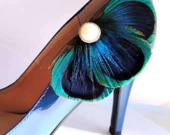 BALEY Blue Peacock Feather Shoe Clips with Pearl