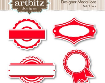 Designer Medallions No. 03006 Clip Art Kit, 300 dpi .jpg and .png