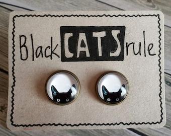 CAT EARRINGS, Black Cat earrings, Black Cat studs, Black Cat lover gift, Black Cat post earrings, cat lover, peeking cat earrings