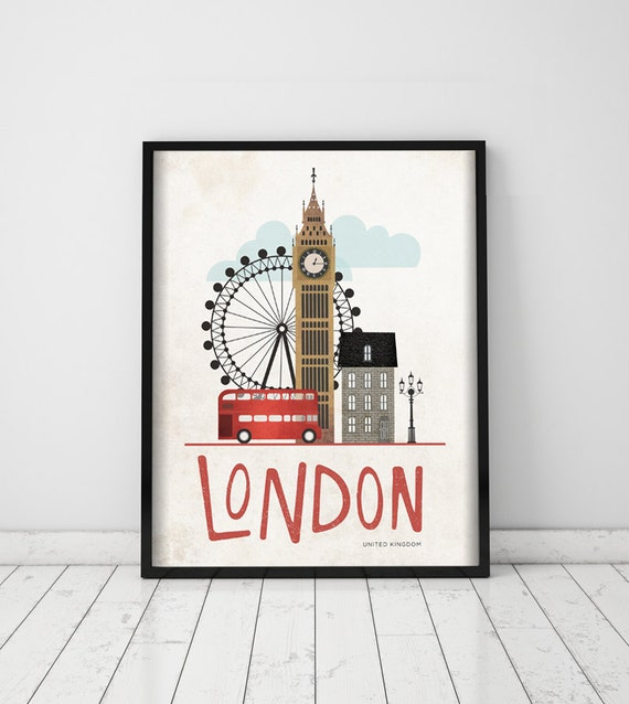 London. United Kingdom. Wall decor art. Poster. Illustration. Digital print. Cities. Travel.