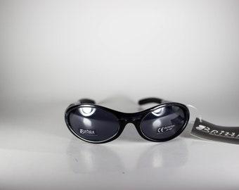 BRIZZA Vintage Sunglasses Unisex Black Plastic Sport 1990s BRIS175E-1