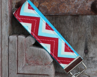 READY TO SHIP-Beautiful Key Fob/Keychain/Wristlet-Red and Blue Chevron On Turq