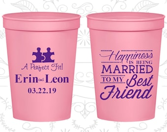 Custom Wedding Cups, Wedding Cups, Plastic Cups, Stadium Cups, Personalized Cups, Custom Stadium Cups, Wedding Favors (C512)