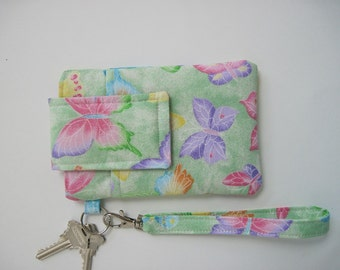 """Butterfly Sparkle  Wristlet, Fits iPhone 5, SE,  and Smartphones up to 5.25"""" x 2.75"""", Cell Phone Pouch, Pastel Butterflies Clutch, Keyring"""