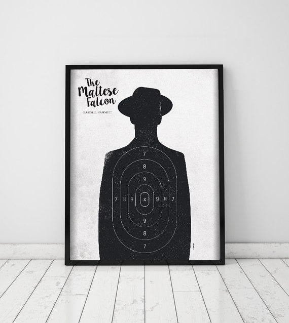 The Maltese Falcon. Dashiell Hammett. Wall decor art. Illustration. Digital print. Book. Poster. 15,75 x 19,69 inc