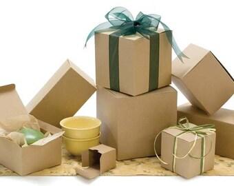 Gift Box, Kraft Natural Gift Box 3x3x3  Set  of 25, One Piece