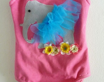 DANCING ELEPHANT LEOTARD- Can be Personalized for Birthday girl -  Size 18/24 months, 2/4 years, 4/6 years and 6/8 years and up