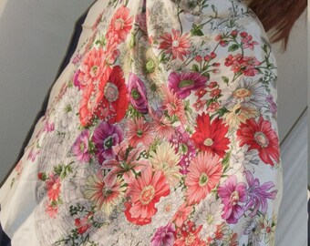 1990s Vintage Floral Large Silk Scarf Shawl Wrap Square One Size Fits All Very Pretty