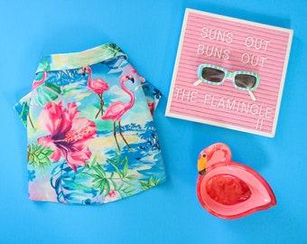 Dog Clothes Flamingle II Shirt | Dog Shirt | Dog Apparel | Dog Shirts for Dogs | Pet Clothing | Hawaiian Dog Shirt