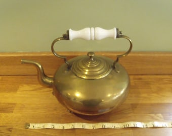 Vintage Brass kettle teapot with swan neck spout and white handle