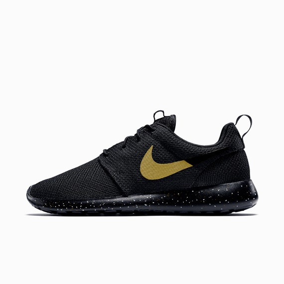 low priced 21cd5 13d21 ... Nike Roshe Run Custom Black with Gold speckles, Men and Women sizes  available, ...
