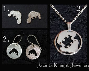Sterling silver platypus earrings, studs or pendant