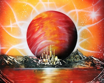 Space art Planet painting Planet wall art Abstract Wall Art Orange Picture Orange painting Planet wall decor Celestial Art Original Abstract