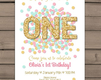 Gold glitter first Birthday invitation one Gold First Birthday Invite Mint Pink Gold birthday invitation Girl Digital PRINTABLE ANY AGE