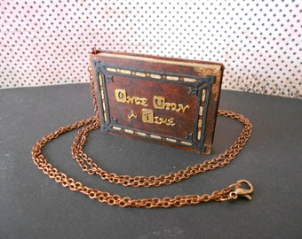 """Necklce book """"Once upon a time"""" ( Made only to order)"""