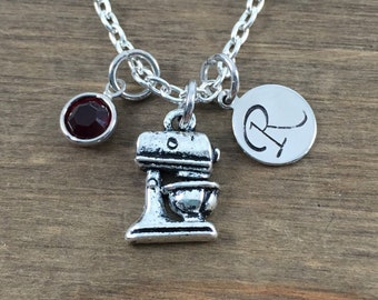 Personalized Mixer Necklace - Hand stamped Monogram Baker's Necklace - Initial, Birthstone Necklace - Swarovski Crystal Birthstone