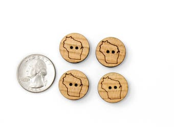 Round Buttons of -YOUR STATE- in Cherry Wood. Pack of 15. Laser Cut from Sustainable Harvest Wisconsin Wood . Timber Green Woods, U.S.A!