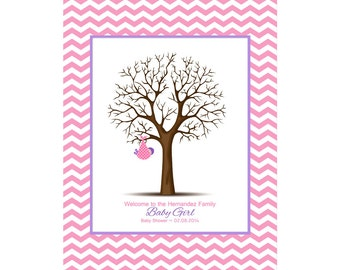 Baby Shower Guestbook, Thumbprint Tree, Chevron Nursery Print, Baby Shower Gift, Alternative Guest Book, Customized Nursery Print