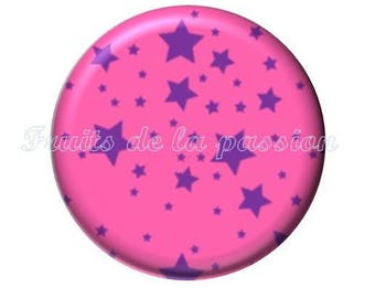 Set of 2 cabochon 16mm round glass celestial star