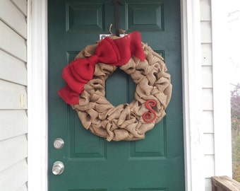 Burlap Wreath With Large Burlap Bow and small monogram - X-Large 25 inch - Tan Burlap Wreath