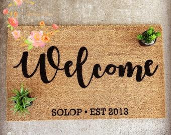 Custom Family Door Mat, Wedding gift, Housewarming gift, Home Decor Welcome Mat, Personalized