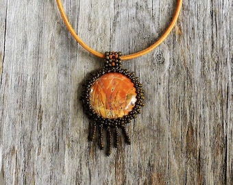 Beaded Cabochon Beaded Bale Necklace - Bead Weaving - Statement Necklace - Red Creek Jasper Cabochon - Suede Cord - BOHO