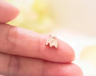 Tiny elephant necklace, elephant charm necklace, animal necklace, everyday jewelry, rose gold necklace, rose gold tiny elephant necklace