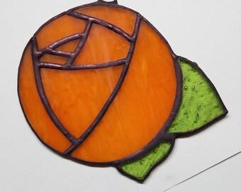 Orange rose, stained glass, ornament, suncatcher, home decor