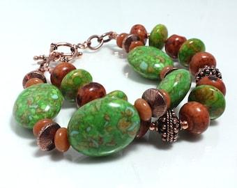 Green Mosaic Turquoise, Jasper, and Aventurine Bracelet