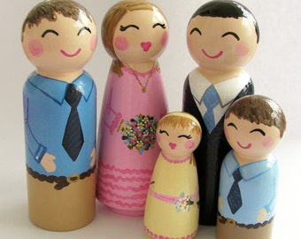 Hand Painted Love Boxes Custom Family of Five 5 Peg Dolls Wood