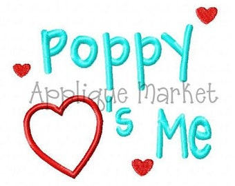 Machine Embroidery Design Applique Poppy Heart Me INSTANT DOWNLOAD