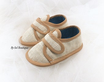 Baby Boy Shoes,Tan,Beige,Toddler Shoes,Boy Shoes,Baby Loafers,Boy Slippers,Booties,Baby Shower,Family Portrait,Gift for Baby,Canvas Shoes